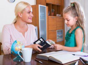 Child receiving money