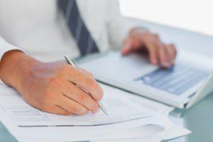 Man performing accounting