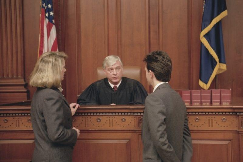 Attorneys talking to judge