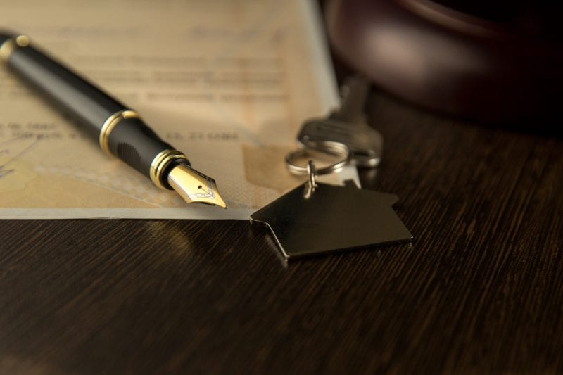legal document with keys